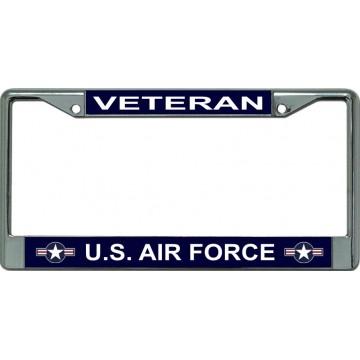 Air Force Veteran Star Logo Chrome License Plate Frame