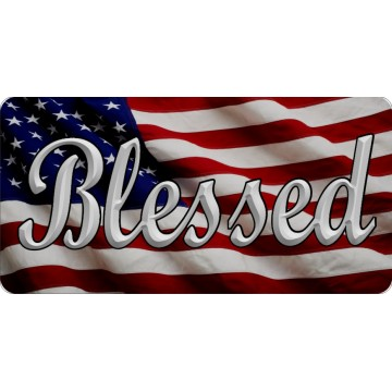 Blessed On Wavy American Flag Photo License Plate