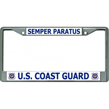U.S. Coast Guard Semper Paratus #2 Chrome License Plate Frame