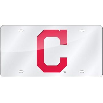 Cleveland Indians Silver Laser License Plate