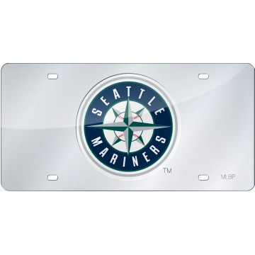 Seattle Mariners Silver Laser License Plate