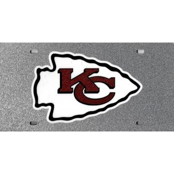 Kansas City Chiefs Logo Silver Glitter Laser License Plate
