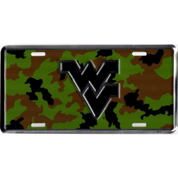 West Virginia Mountaineers Camo Metal License Plate