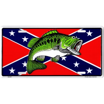 Bass On Rebel Flag #2 Metal License Plate
