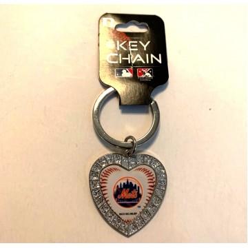 New York Mets Bling Rhinestone Heart Key Chain