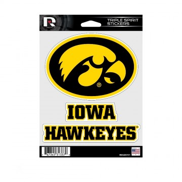 Iowa Hawkeyes Triple Spirit Stickers