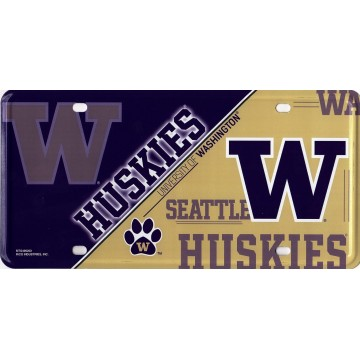 Washington Huskies Metal License Plate