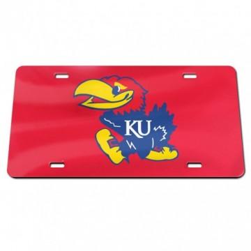 Kansas Jayhawks Red Laser License Plate