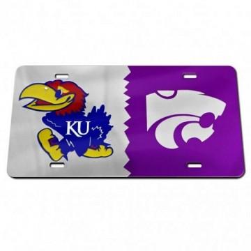 Kansas Jayhawks / Kansas State Wildcats House Divided Silver Laser License Plate