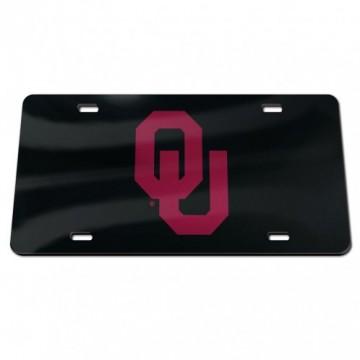 Oklahoma Sooners Black Laser License Plate