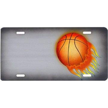 Basketball Offset On Gray #2 Metal License Plate