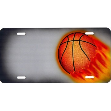 Basketball Offset On Gray Metal License Plate