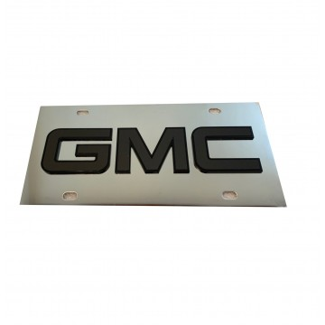 GMC Black Logo Stainless Steel License Plate