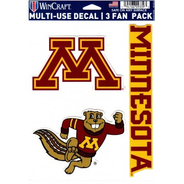 Minnesota Golden Gophers 3 Fan Pack Decals