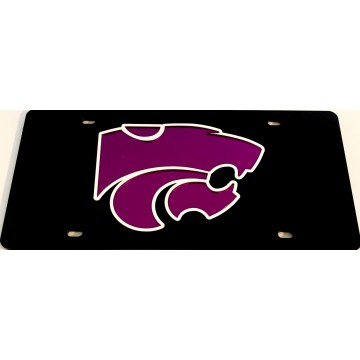 Kansas State Wildcats Black And Purple Laser License Plate