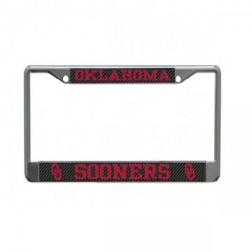 Oklahoma Sooners Carbon Fiber Design Chrome License Plate Frame