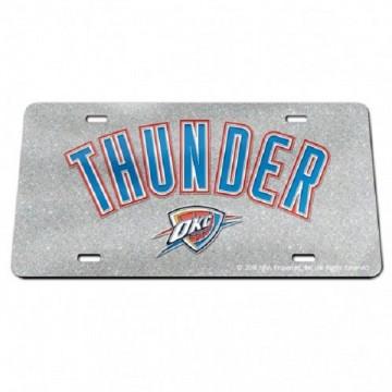 OKC Thunder Script Silver Glitter Laser License Plate