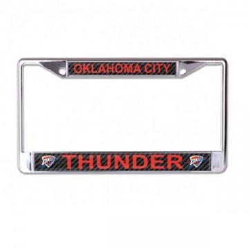 Oklahoma City Thunder Carbon Fiber Design Chrome License Plate Frame