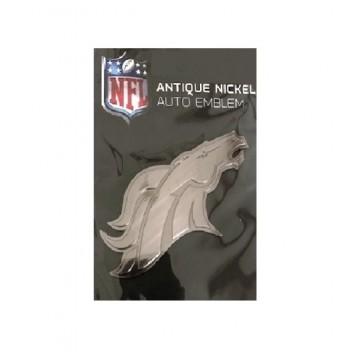 Denver Broncos Antique Nickel Auto Emblem