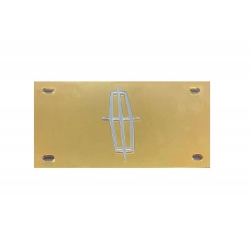 Lincoln Gold Laser Silver Logo License Plate