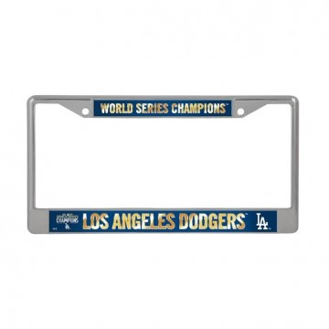 LA Dodgers World Series Champions Chrome License Plate Frame