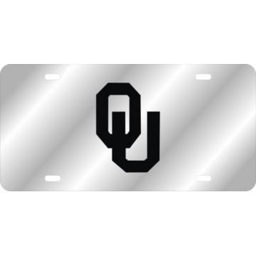 Oklahoma Sooners Black Logo On Silver Laser License Plate