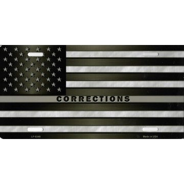 American Flag Corrections Metal License Plate