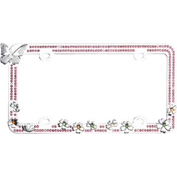Butterfly And Colorful Flowers With Pink Crystals Chrome License Plate Frame