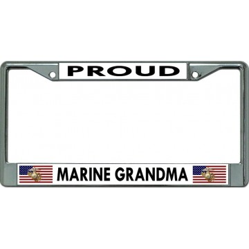 Proud Marine Grandma Chrome License Plate Frame