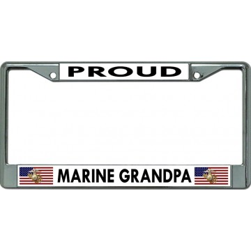 Proud Marine Grandpa Chrome License Plate Frame