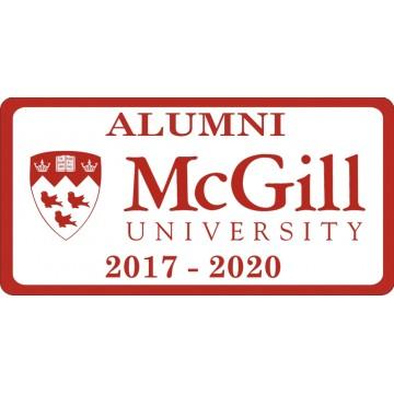 McGill University Alumni Photo License Plate