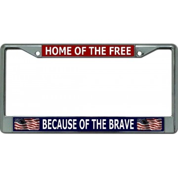 Home Of The Free With Flags Chrome License Plate Frame