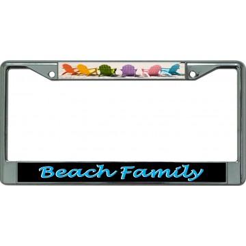 Beach Family Chrome License Plate Frame