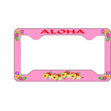 Aloha Hawaiian Flowers Thin Style License Plate Frame