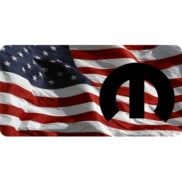 Mopar Emblem On Wavy U.S. Flag Photo License Plate