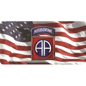 82nd Airborne On Wavy U.S. Flag Photo License Plate