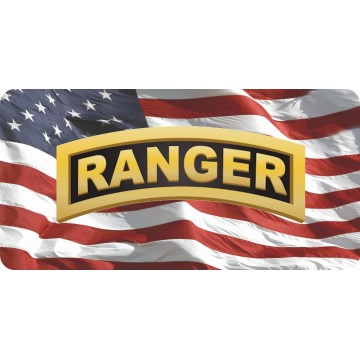 Army Ranger On Wavy U.S. Flag Photo License Plate