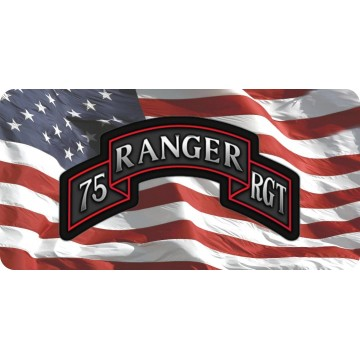 75th Ranger Regiment On U.S. Flag Photo License Plate