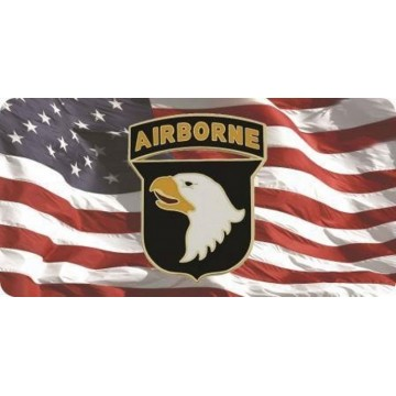 101st Airborne On U.S. Flag Photo License Plate