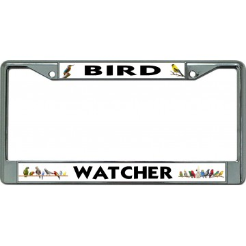 Bird Watcher Chrome License Plate Frame