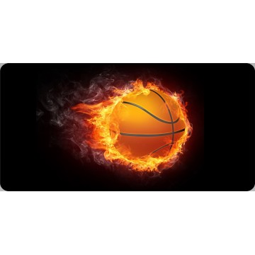 Basketball On Fire Centered Photo License Plate