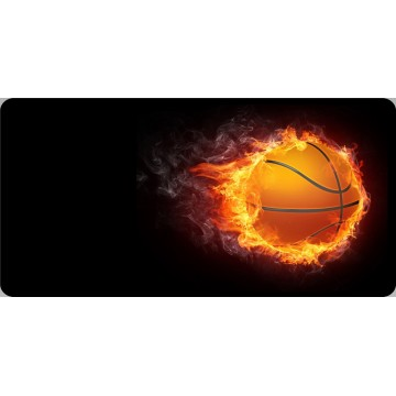 Basketball On Fire Offset Photo License Plate