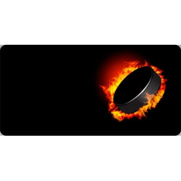 Hockey Puck On Fire Offset Photo License Plate