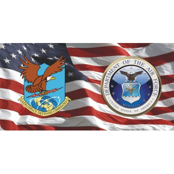 Aerospace Defense Command & Air Force On U.S. Flag Photo License Plate