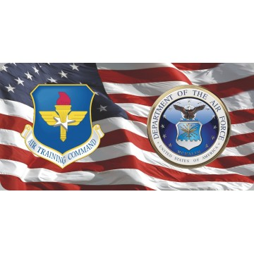 Air Training Command & Air Force On U.S. Flag Photo License Plate