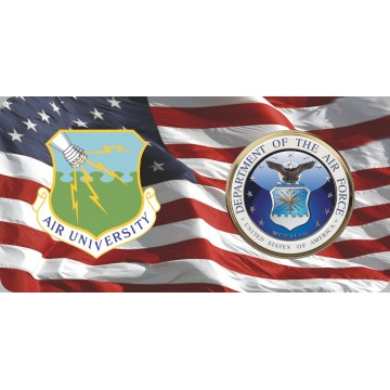 Air University Command & Air Force On U.S. Flag Photo License Plate