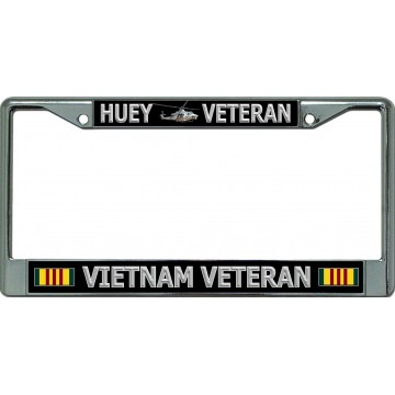 Huey Veteran Vietnam Veteran Chrome License Plate Frame