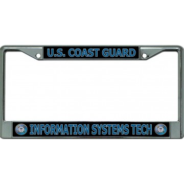 U.S. Coast Guard Information Systems Tech Chrome License Plate Frame