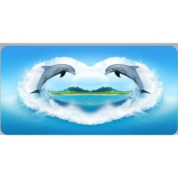 Dolphin Heart Photo License Plate