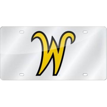 Wichita State Shockers Logo  Silver Laser License Plate